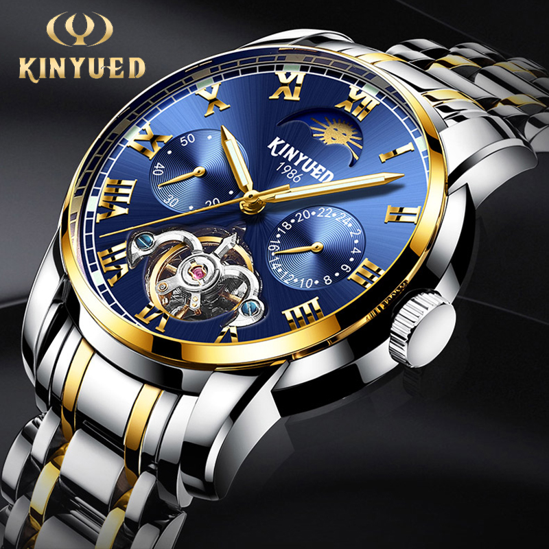 KINYUED Business Skeleton Mechanical Automatic Watches Perpetual Calendar Top Brand Mens Watches Waterproof Steel Reloj Hombre цена