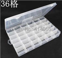 Moda joyería del grano organizador 36 Grids claro ajustable embalaje caja de almacenamiento de contenedores Case