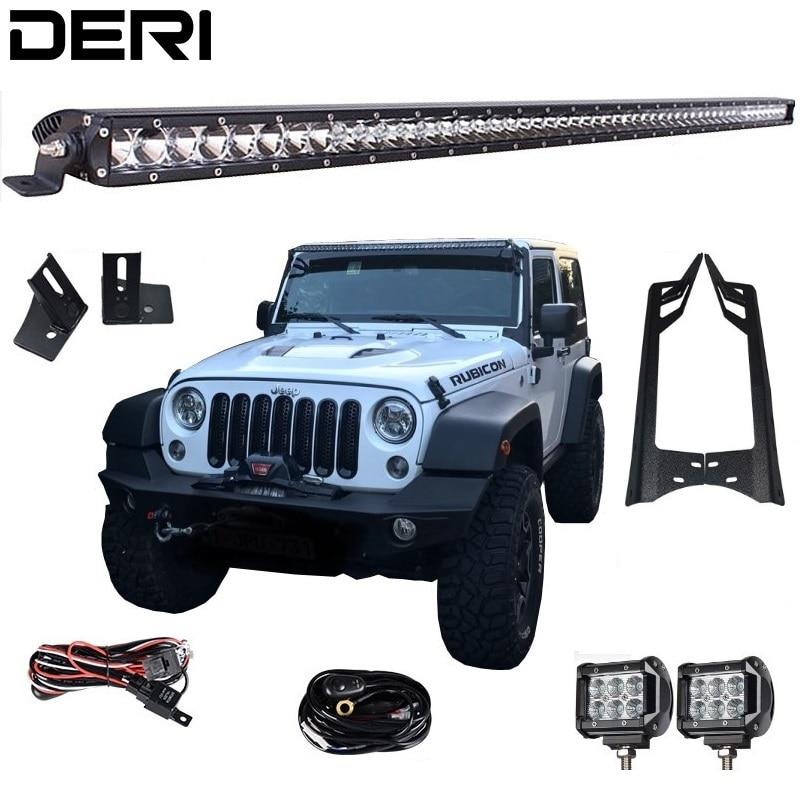 50'' 51 in 250W Led Offroad Light Bar 4'' 18W Led Work Lights A Pillar Mount Brackets for Jeep Wrangler JK Kit 07 17 Car styling