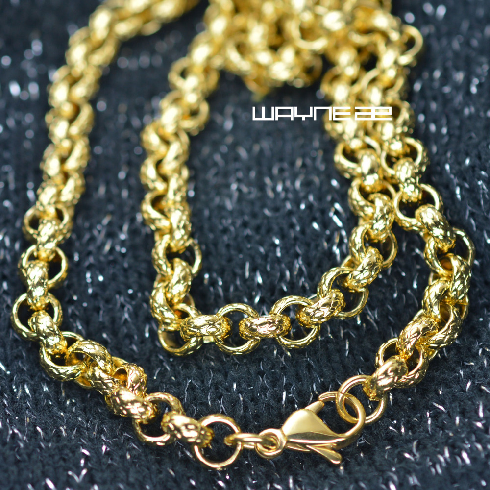 50,60,70cm men Gold Tone Stainless Steel chain Necklace 7mm W N308