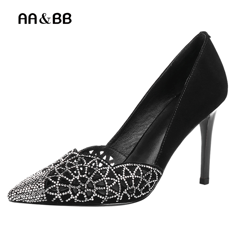 AA&BB(AA&BB) 2017 Spring And Autumn New Fashion, High Heels, Sexy Thin 9cm Heels Shoes, Hollow Flowers Crystal Women's Shoes high tech and fashion electric product shell plastic mold