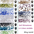 Mix 8 Size 1404pcs Round Nail Art Rhinestones Glass For 3D Nails Decoration Bags Shoes And Clothes 15 Colors Available