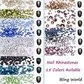 Mix 8 Tamaño 1404 unids Nail Art Ronda Piedras de Cristal Para Uñas 3D Decoración de Zapatos Y Bolsas de Ropa 15 Colores disponible