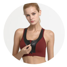 5d4bf432cb Push Up Sans Soudure Avant Zipper Sport Top Élastique Remise En Forme De  Yoga Sport Soutien-Gorge Femmes Amovible Rembourré Wire.