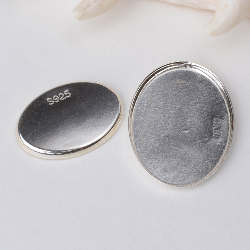 Solid 925 Sterling Silver Oval Cabochon Trays Locket Settings