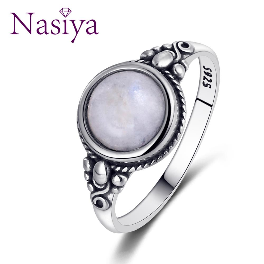 Nasiya New Trend Women's Moonstone Rings 925 Sterling Silver Moonstone Jewelry Daily Life Wedding Anniversary Engagement Gifts