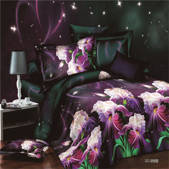 Plant Flower 3D Bedding Set Duvet Cover Bed Sheet Pillowcase 3/4pcs Full King Size Multicolor Bed Clothes