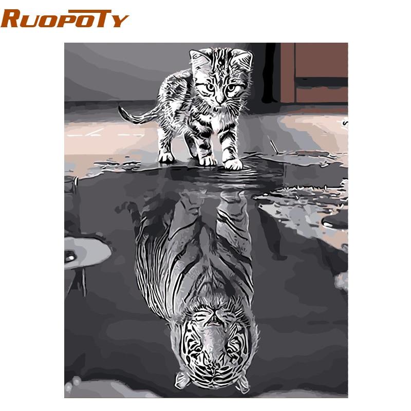 RUOPOTY Frameless Lovely Cat Pittura di DIY Dai Numeri Animali Dipinta A Mano Pittura A Olio Regalo Unico Per La Decorazione Domestica 40*50 cm Opere D'arte