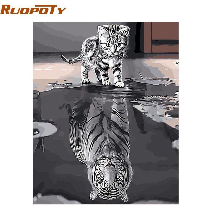RUOPOTY marco precioso gato DIY pintura por números Kit animales pintura al óleo pintada a mano regalo único para la decoración casera 40x50 cm ilustraciones