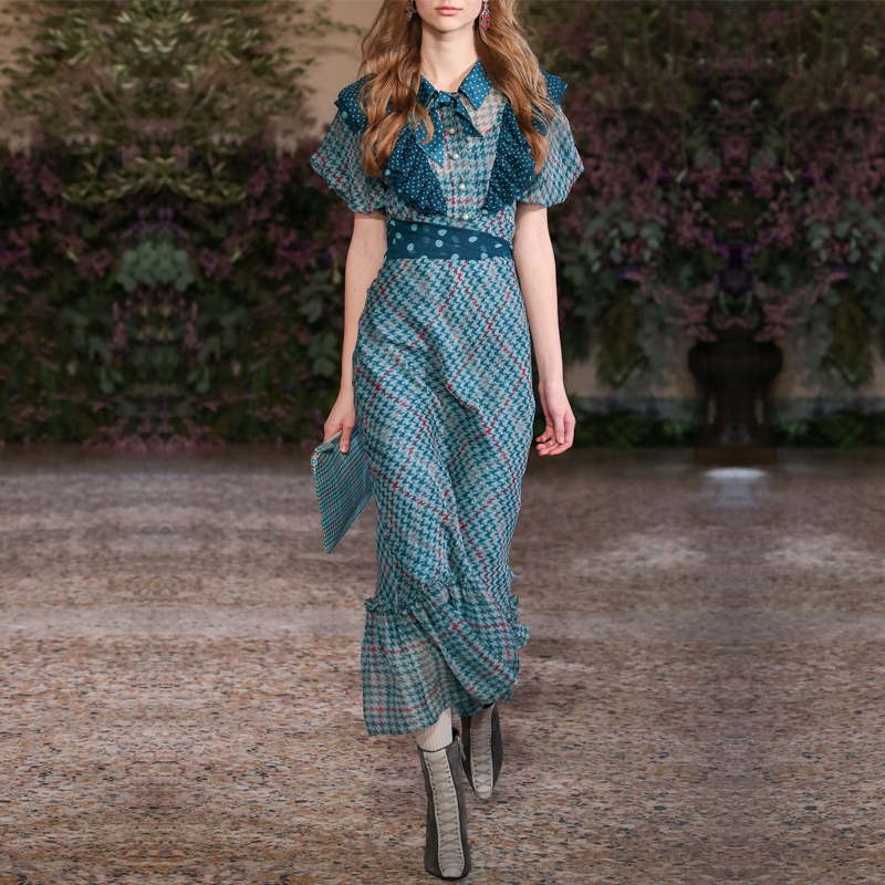 2018 European Summer Vintage Ruffles Lantern Sleeve Plaid Printed Chiffon Long Dresses Women Desinger Runway Dresses