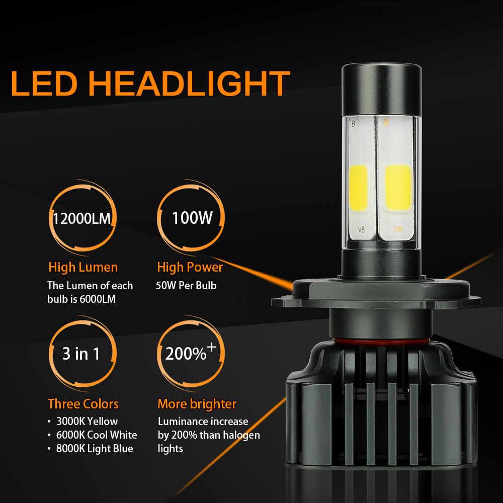 Zdatt H7 Led Bulb Canbus H4 H8 H9 H11 9005 HB3 9006 HB4 100W 12000LM 3000K 6000K 8000K Headlight Car Led Light 12V Automobiles