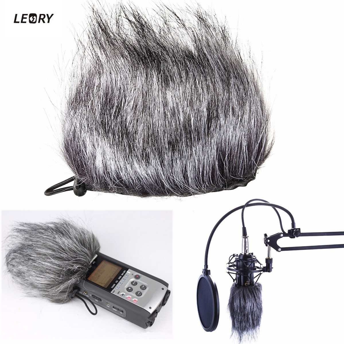 LEORY Artificial Fur Microphone Muff Windscreen Wind Sleeve Shield Cover For Zoom H1 H2N H4N Q3 For Sony D50 Recorder 120x130mm