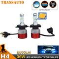 Par 72 W LED Farol Car Auto Farol Conversão Kit CSP COB h7 h8/h9/h11 9005 9006 hb3 hb4 h1 h3 h4 8000LM Luz DRL Nevoeiro