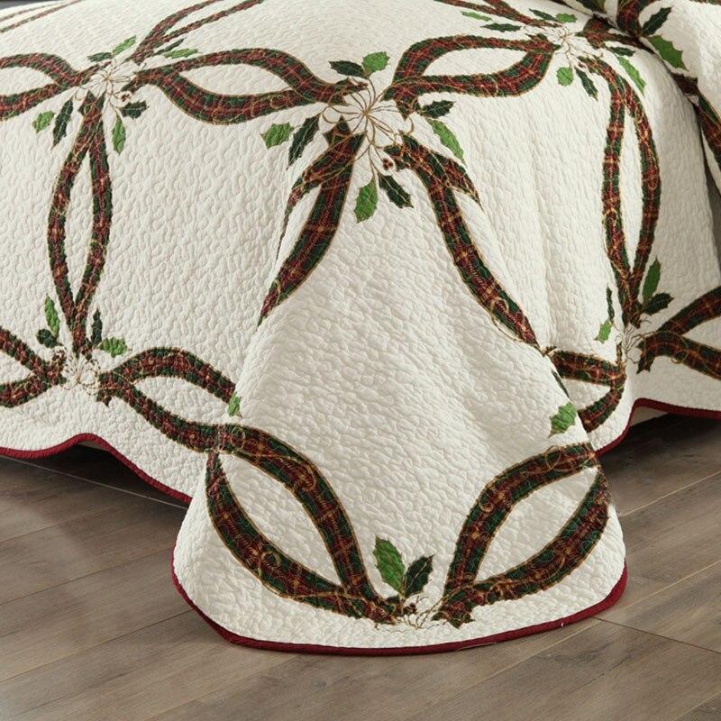 CHAUSUB Neue Weihnachten Bänder Quilt Set 3 STÜCKE Gewaschener Baumwolle Quilts gesteppte Bettdecke Bettdecke Kissenbezug König Größe Bettdecke Satz - 5