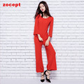 zocept 2016 Spring Autumn Women's Sets Silk Cashmere Blend Knitted Sweater Loose Pants Female Casual O-Neck Flare Sleeve Clothes