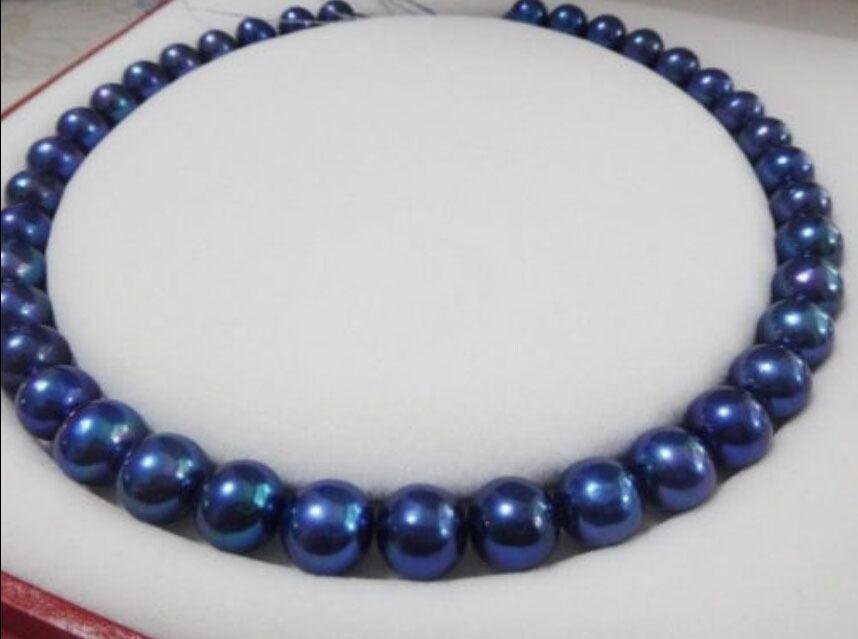18 ''10-11mm Genuine TAHITIAN BLU collana di perle 925 argento oro giallo chiusura