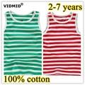 2-7Y New Children T-shirt Girls tees baby Girl sleeveless T shirts 100% Cotton Summer striped soft boys summer clothing