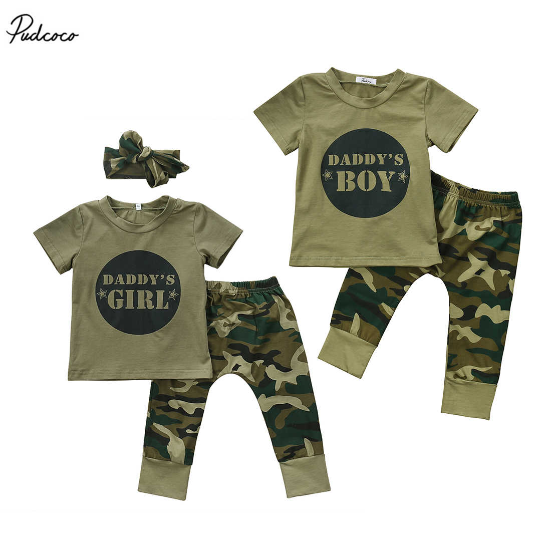 Cute Casual Newborn Infant Baby Boys Girls Camo Short T-shirt Tops Camouflage Pants Outfits Set Clothes
