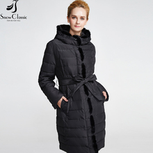 Snow Classic Women's Winter Jacket 2016 Real Mink Fur Collar Sashes Thick Long Jacket  The year-end clearance 16209A