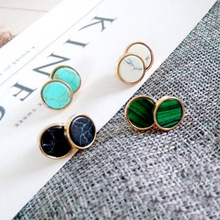 Stud Earrings Fashion Triangle Round Geometric Marbled White Stud Earring For Women Green Malachite Chic 2018 New Stud Earrings carvejewl stud earring round triangle resin stone collection straw weaving stud earrings for women jewelry new fashion earrings