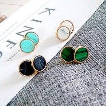 Stud Earrings Fashion Triangle Round Geometric Marbled White Stud Earring For Women Green Malachite Chic 2018 New Stud Earrings