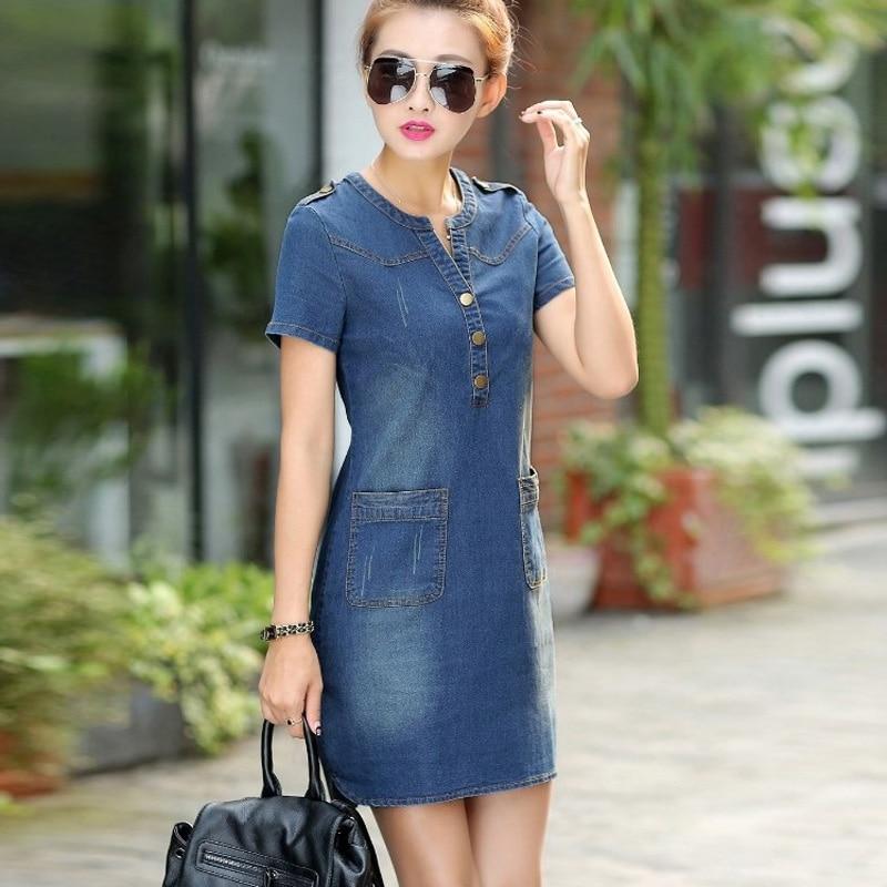 Summer 2018 Casual slim Sexy jeans dress Women Lady Short Sleeve Solid Color button pokets Denim Bodycon Dress streetwear vadim
