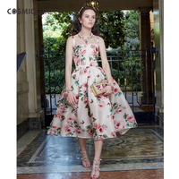 Cosmicchic Haute Couture Ladies Strap Dress High Waist Silk Dress Rose Print Vintage Vestidos Party Dresses LY217