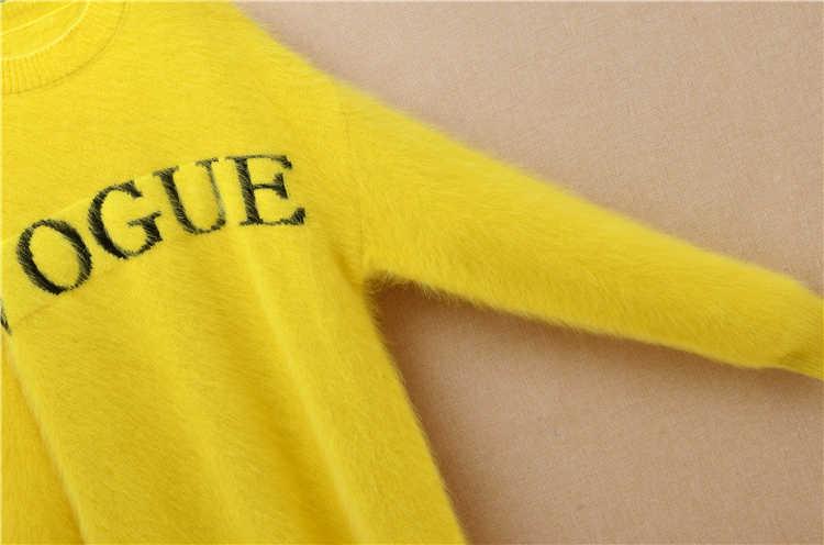 レディースレディースロングぬいぐるみ毛深いミンクカシミヤ o ネック黄色かわいい手紙ルース長袖アンゴラ毛皮ニットセータードレスコート