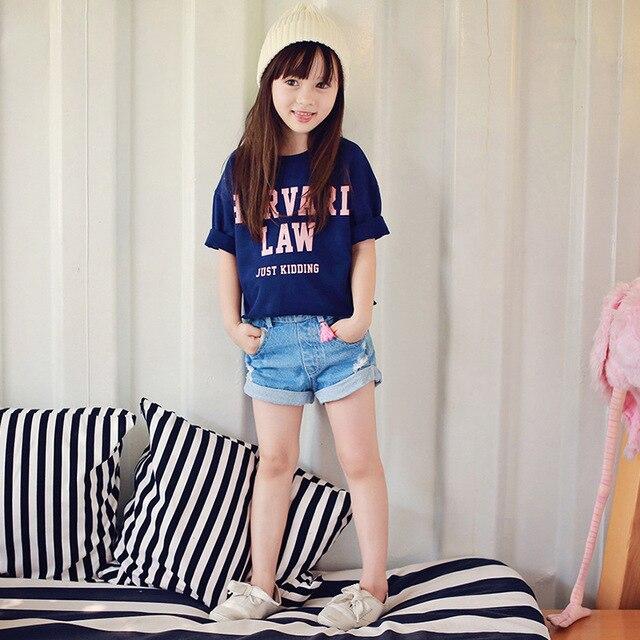 Teenage Girls Summer Clothes 2019 Children Denim Skirt Set T shirt + Shorts 2pcs Kids Letter Casual Clothes Teen Girls 4-12T