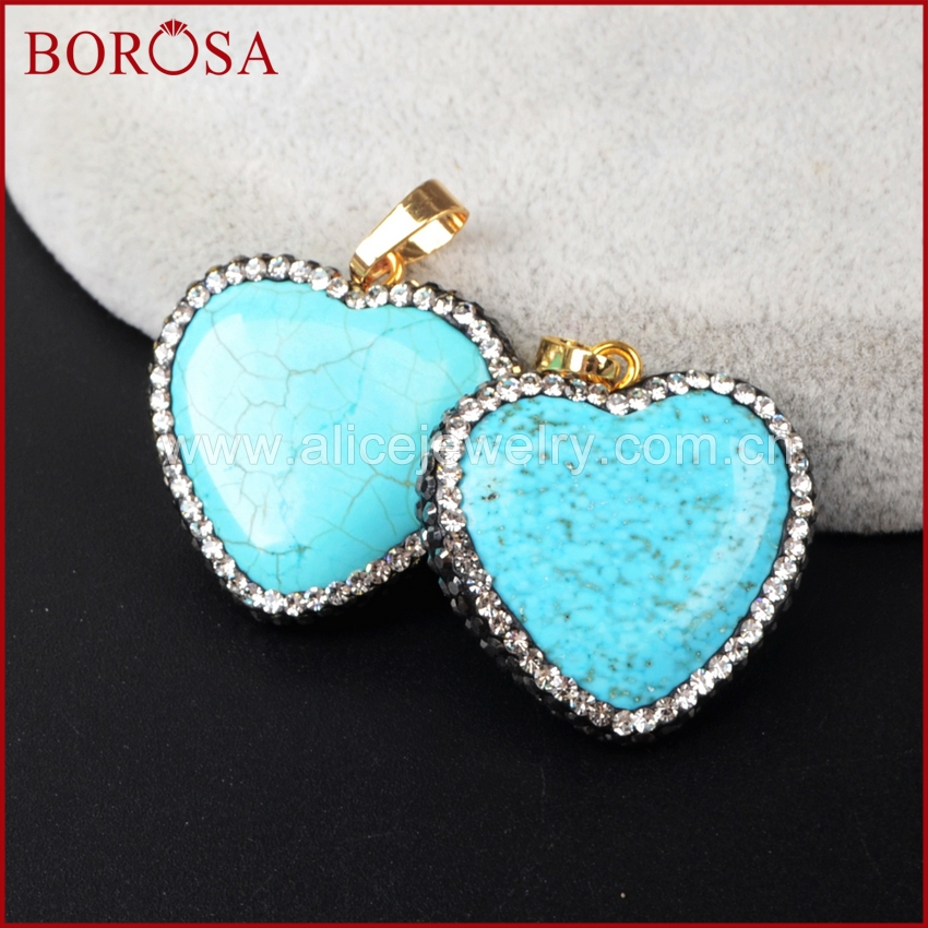 BOROSA Heart Pendant Blue Howlite Greenish Sky Blue Stone Vintage Rhinestone Paved Pendant Beads for Necklace Jewelry DIY JAB596