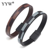 Luxury Brand Leather Bracelets Homme Jewelry Stainless Steel Geometric Clasps Leather Bangles Charm Bracelet For Men все цены