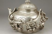 CHINESE OLD WHITE COPPER HANDWORK CARVING IMMORTAL PORTABLE TEA POT цена и фото