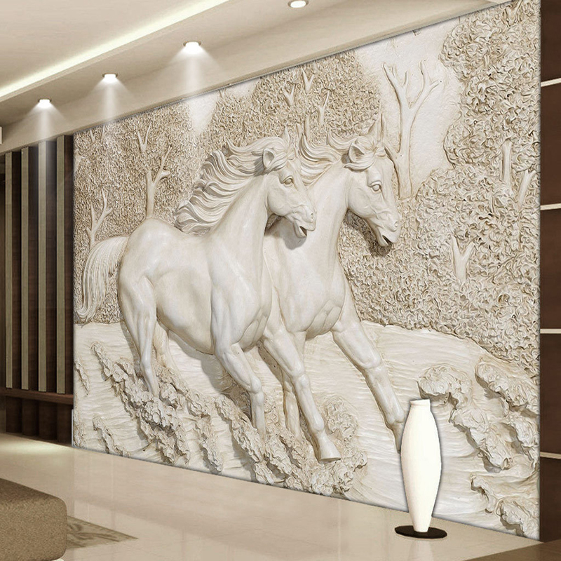 Custom mural wallpaper 3d stereo relief white horse photo for Equestrian wall mural