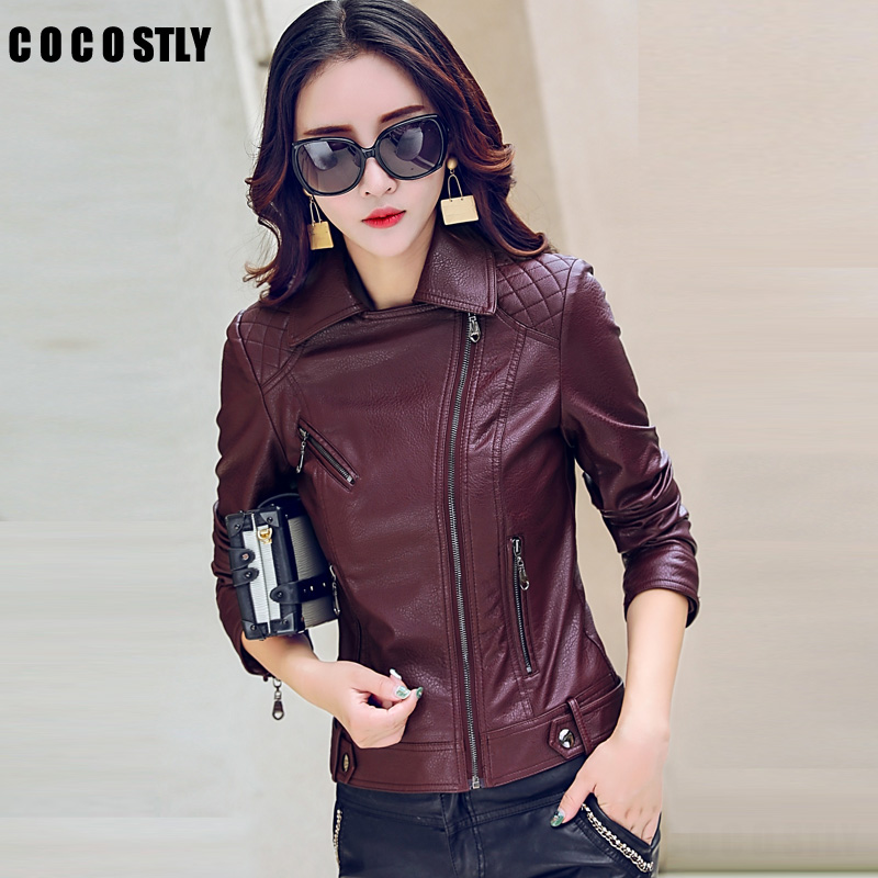 High Quality 2018 Autumn   Leather   Jacket Women   Leather   Jackets Fashion Female Winter Motorcycle Jackets Coats Outwear Plus Size