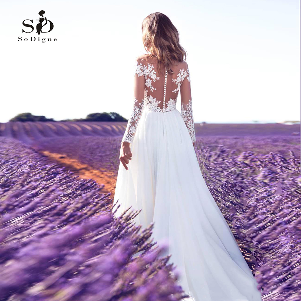 SoDigne Long Sleeves Wedding Dress 2020 Beach Bridal Gown Chiffon Lace Appliques Wedding Dresses White/Ivory Romantic Buttons