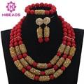 Encanto Rojo Coral Perlas Africanas Sistemas de La Joyería de Cristal Dorado Champagne Aretes Collar Nupcial Conjunto Envío Gratis WD904