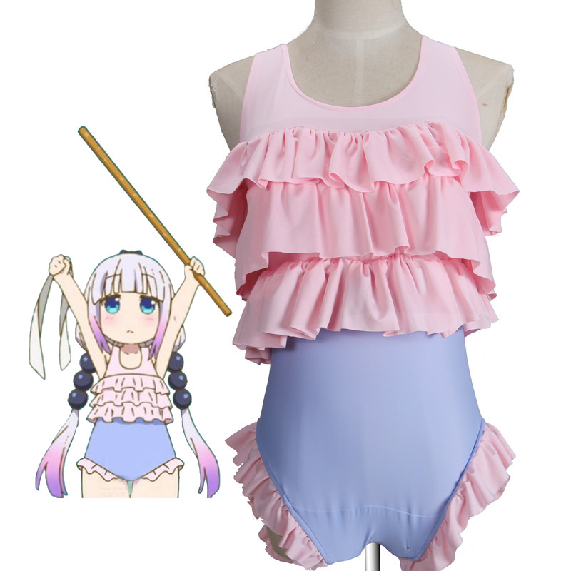 Miss Kobayashi's Dragon Maid Cosplay Costume Kanna kamui Women Ruffles Sexy Swimsuit children Summer swimming wading sport