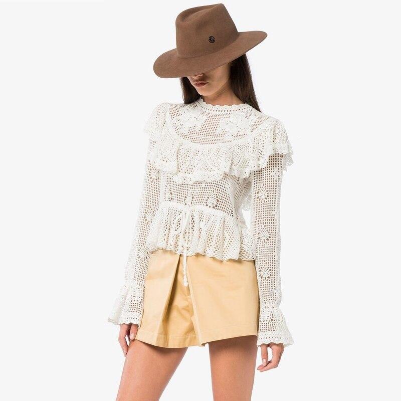 2019 ZIM Designer piste Blouse femmes Vintage volants Flare manches dentelle chemise femme Sexy hauts à la mode