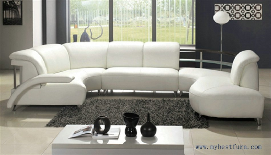 Nice White Leather Sofa Free Shipping Fashion Design Comfortable