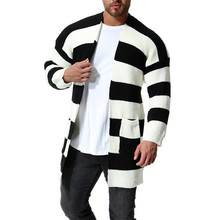 Fashion New Men's Black White Patchwork Color Cardigan Men Long Striped Knit Slim Sweater Coats for 2018 New Autumn Winter