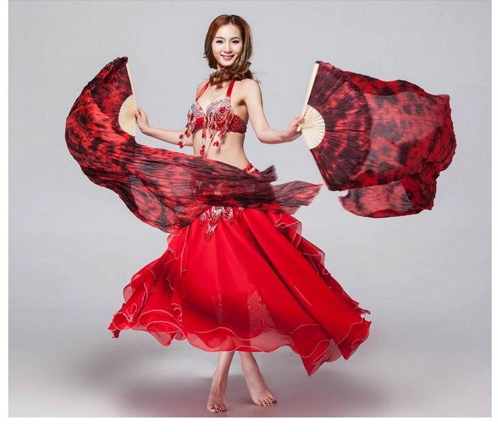 Belly Dance Silk Fan Veil tie dye Black & Dark Red 1.8M ...