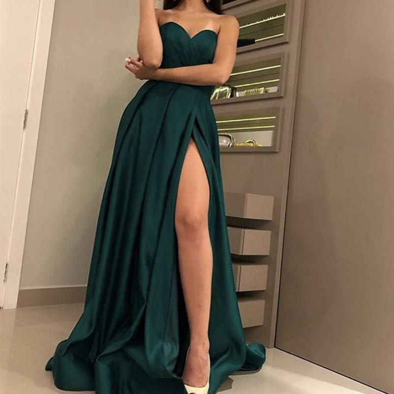 Élégant hors de l'épaule robe de soirée Satin Sexy robe de bal haute fente grande taille robes de bal 2019 Long vestido fiesta