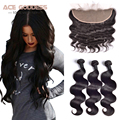 7A Indian Virgin Hair Body Wave Lace Frontal Closure With Baby Hair Ear to Ear 13x4 Lace Frontal Closure With Bundles ACE Hair
