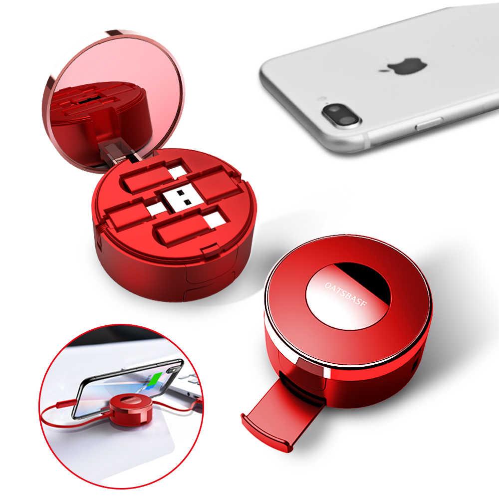 3 в 1 Micro Usb type-C для huawei выдвижной кабель для IPhone X XS XR 8 7 Plus с зеркалом скрытый usb-кабель для зарядного устройства коробка для макияжа