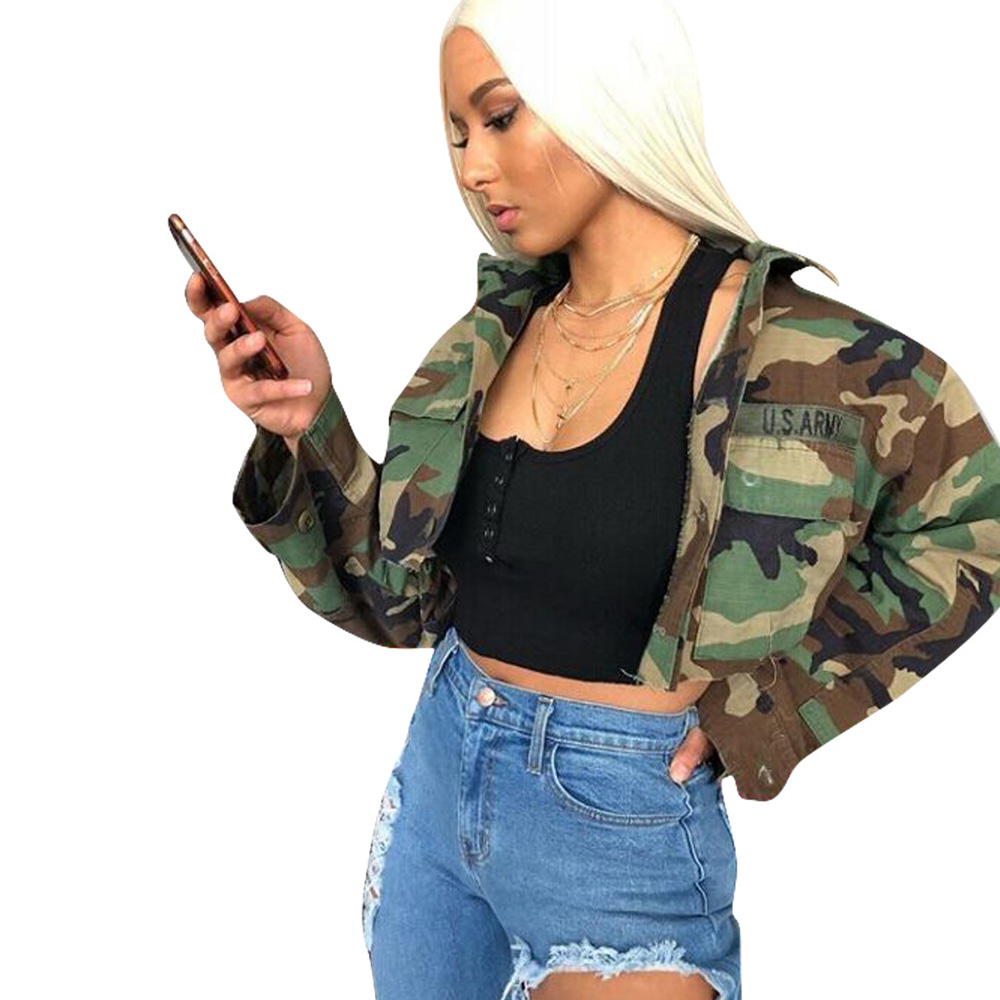 2018 Autumn Women's Vintage Camouflage Army Green Jacket Turn-  down   Slim Casual fashion Button pocket female Bomber   Coats   Outwear