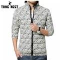 Tangnest homens jaqueta de inverno 2017 de venda quente da moda confortável quente para baixo Parka Jaqueta Casual Dos Homens Mais Grande Tamanho Asiático 5xl MWM1398
