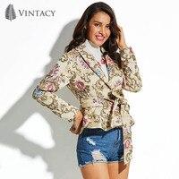 Vintacy Women's Coat Embroidery Sashes Belt Beige Long Sleeve Floral Holiday Slim Print Jacket Top Female Shorts Coat With Belt