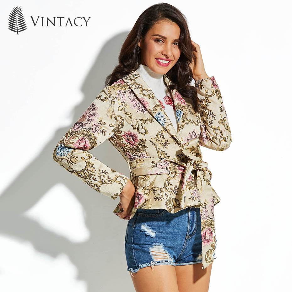 Vintacy Women's Coat Embroidery Sashes Belt Beige Long Sleeve Floral Holiday Slim Print Jacket Top Female Shorts Coat With Belt