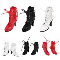 1 Pair 12 Inch Girl Doll Shoes PU Leather High Heel Boots for 1/6 Fashion Doll Accessory Decoration Children Kids Toys Gift