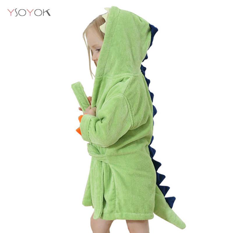 Cartone animato dinosauro bambini accappatoi bambino bambini pigiama asciugamano da spiaggia con cappuccio accappatoio morbido accappatoio bambino ragazzi ragazze abiti abito